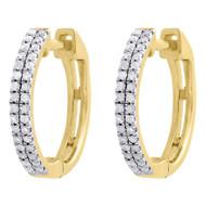 """10K Yellow Gold Genuine Diamond Hoops 0.55"""" Ladies Prong Set Earrings 0.21 Ct."""