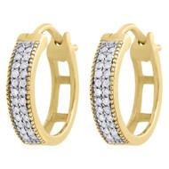 """10K Yellow Gold Genuine Diamond MJ Hoops Huggie 0.50"""" Ladies Pave Earrings 0.17"""