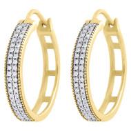 """10K Yellow Gold Genuine Diamond Hoops Huggie 0.75"""" Ladies Pave Earrings 0.26 Ct."""