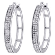 "10K White Gold Two Row Pave Set Diamond Ladies 0.90"" Hoop Huggie Earrings 1/3 CT"