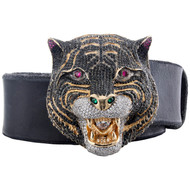 Mens Gucci Leather Belt with Feline / Panther Head Belt Buckle