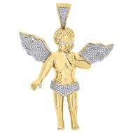 "10K Yellow Gold Diamond Angel Cherub Pendant 3.30"" Mens Large Pave Charm 0.70 Ct"