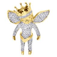 10K Yellow Gold Diamond 3D Angel Pendant Crown Charm Fully Iced Piece 0.80 Ct.