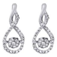 10K White Gold Dancing Diamond Cluster Infinity Drop Dangle Earrings 0.33 Ct.