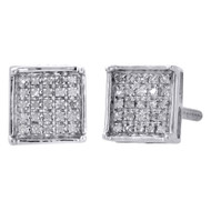 .925 Sterling Silver Diamond Studs Mini 7.20mm 4 Prong Square Earrings 0.17 Ct.