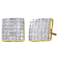 14K Yellow Gold Genuine Princess Diamond Studs 10.80mm Square Earrings 2 Ct.