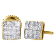 14K Yellow Gold Princess Diamond Studs 5.60mm Mini Square Earrings 0.38 Ct.