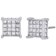 14K White Gold Princess Diamond Square Studs 4 Prong 9mm 3D Earrings 1.50 CT.