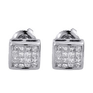 Princess Cut Diamond Studs Mens Ladies 14K White Gold Square Earrings 0.25 Ct.