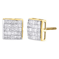 Diamond Square Earrings 10K Yellow Gold Princess Cut Design Studs 1.25 Tcw.