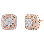 10K Rose Gold Real Diamond Flower Halo Frame Cluster Studs 11.5mm Earrings 1 CT.