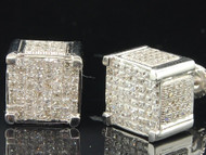 Princess Cut Diamond Earrings 10K White Gold 3D Square Cube Studs 2.10 Ctw.