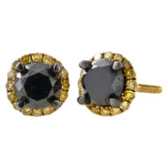 10K Yellow Gold Black & Yellow Diamond Studs Halo Jacket 7MM Earrings 1.38 Ct.