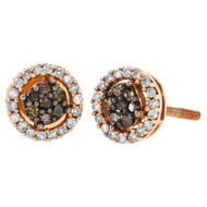 10K Rose Gold Brown Diamond Flower Studs Halo Cluster 7mm Earrings 0.25 Ct.