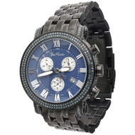 Joe Rodeo Classic JCL111 Mens Blue Diamond Watch 3.50 Ct. Black PVD Metal 46mm