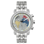 Men's Diamond Watch Joe Rodeo Classic JCL49(WY) 1.75 Ct World Map Dial