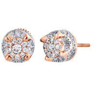 10K Rose Gold Genuine Diamond 4 Prong Studs 3D Raised 7.50mm Earrings 1/2 CT.