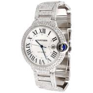 Mens Ballon Bleu de Cartier Large Fully Loaded Diamond 42mm Watch 14.50 CT.