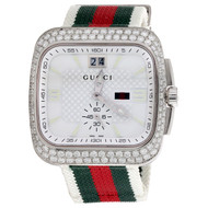 Gucci Coupe Mens Large Diamond Sports Watch Red Green Flag Band 4 Ct. YA131303