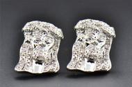 Diamond Studs .925 Sterling Silver Jesus Face Earrings .20 CT