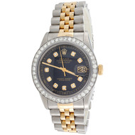 Men's 36mm Rolex DateJust Diamond Watch 18K Two Tone Jubilee Black Dial 2 CT.