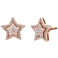 10K Rose Gold Diamond Star Studs 12mm Double Halo Frame Pave Earrings 0.55 CT.