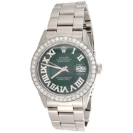 Mens 16014 Rolex 36mm DateJust Oyster Green Roman Numeral Diamond Watch 2.75 CT.