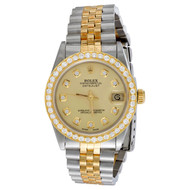 Rolex DateJust 18K Gold / TT 31mm Diamond Watch Dial 68273 Jubilee Band 1.15 CT.