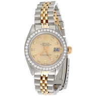 Ladies 18K / Steel Rolex DateJust Jubilee 6917 Diamond Watch Champagne Dial 1 CT.