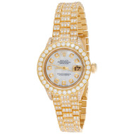 Rolex 18K Gold President 26mm DateJust 69178 VS Diamond White MOP Watch 7.43 CT.