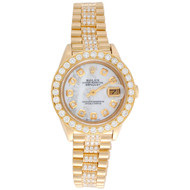 Rolex 18K Gold President 26mm DateJust 69178 VS Diamond White MOP Watch 3.70 CT.