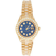 Rolex 18K Gold 26mm President DateJust 69178 VS Diamond Watch Blue Dial 3.70 CT.
