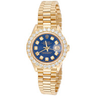 Rolex 18K Gold 26mm President DateJust 69178 VS Diamond Watch Blue Dial 2.08 CT.