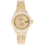 Rolex 18K Gold President 26mm DateJust 69178 VS Diamond Champagne Watch 4.46 CT.