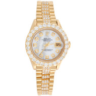 Rolex 18K Gold President 26mm DateJust 69178 VS Diamond White MOP Watch 4.46 CT.