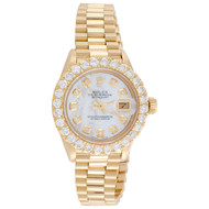 Rolex 18K Gold President 26mm DateJust 69178 VS Diamond White MOP Watch 2.08 CT.