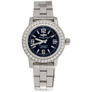 Ladies Breitling Colt 33mm Custom Diamond Watch Ref. # A77387 Black Dial 1.76 CT