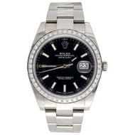 Men's Rolex DateJust 41 Diamond Watch Ref. # 126300 Black Stick Dial 2.20 CT.