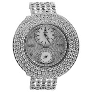 Mens New IceTime Diamond Watch Illusion Dial Fully Iced Band 3 Row 50mm 2 Ct.
