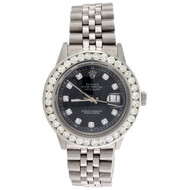 Diamond Rolex Datejust Jubilee Watch Mens 36mm Stainless Steel Black Dial 4 Ct.