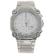 Mens Aqua Master Diamond Watch Chrono Octagon 45mm Stainless Steel W#142 0.32 Ct