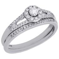 10K White Gold Solitaire Diamond Split Shank Engagement Ring Bridal Set 0.35 Ct.