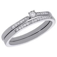 10K White Gold Solitaire Diamond Bezel Set Wedding Ring Bridal Set 0.13 Ct.