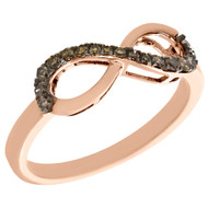 10K Rose Gold Brown Diamond Infinity Anniversary Band Cocktail Ring 0.20 Ct.