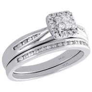 10K White Gold Diamond Bridal Set Halo Engagement Ring + Wedding Bad 0.25 Ct.