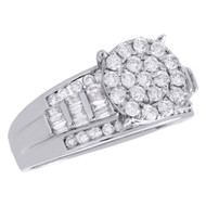10K White Gold Round & Baguette Diamond Circle Cluster Engagement Ring 1 CT.