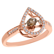 10K Rose Gold Dancing Diamond Teardrop Ring Cocktail Statement Band 0.38 CT.