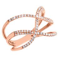 10K Rose Gold Diamond Geometric Statement Ring Intertwined Cocktail Band 0.33 CT