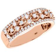 10K Rose Gold Diamond Filigree Waved Ladies Anniversary Ring Wedding Band 1/2 Ct