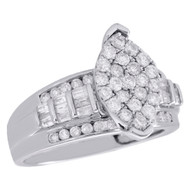 .925 Sterling Silver Baguette Diamond Marquise Cluster Engagement Ring 1 CT.